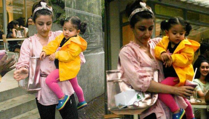 Inaaya Naumi Kemmu Looks Cute As A Button As She Wears Yellow Raincoat To Protect Herself From Rain