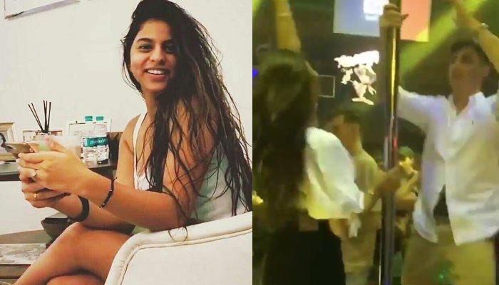 Suhana Khan Is A Treat To Watch As She Holds On To A Pole While Partying With Her Friend At A UK Pub