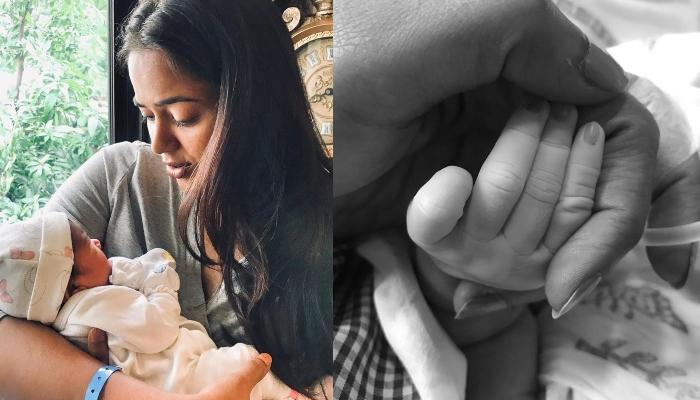 Sameera Reddy Shares An Adorable 'Love At First Sight' Picture Of Her Son With Her New-Born Daughter