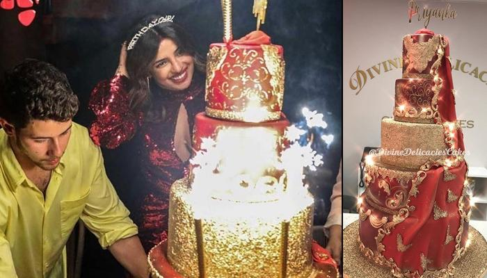 Miraculous Priyanka Chopras Birthday Cake Has 24K Edible Gold Can You Guess Funny Birthday Cards Online Fluifree Goldxyz