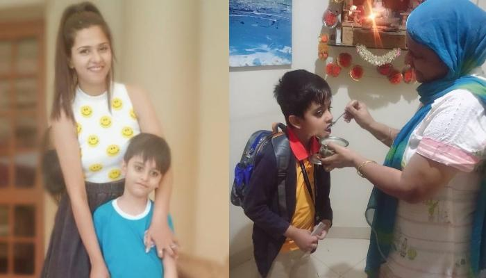 Single Mother, Dalljiet Kaur Shares The First Day School Pic Of Her Son While Eating 'Dahi-Shakar'