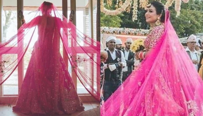 This Bride Wore A Rani Pink Lehenga With The Longest Dupatta For Her Wedding