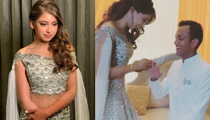 Niti Taylor Gets Engaged To Beau, Parikshit Bawa, Dazzles In An Ice-Blue Lehenga With Cape Sleeves