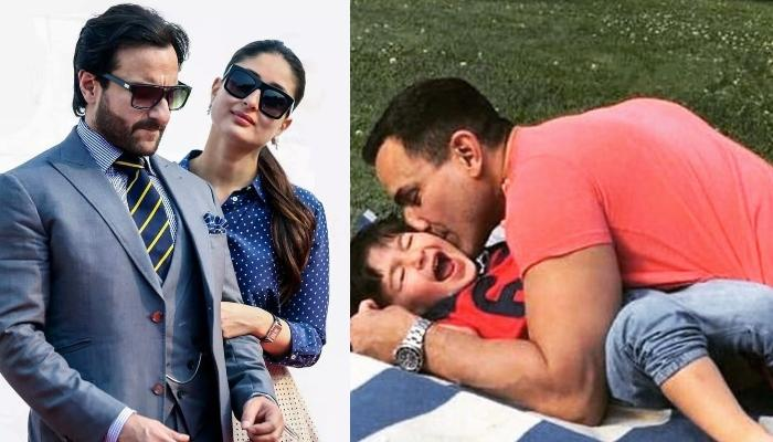 Saif Ali Khan Poses With Wife Kareena And Son, Taimur Ali Khan From His Birthday Vacation In England