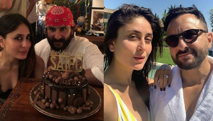 Saif Ali Khan Celebrated His Birthday By Cutting Delicious Cake With Kareena Kapoor Khan By His Side