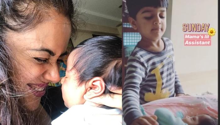Sameera Reddy's Four-Year-Old Son, Hans Varde Turns 'Mumma's Little Assistant' For His Sister, Nyra