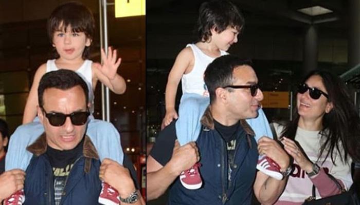 Taimur Ali Khan Greets Media With 'Hi there' As He's Support To Mumbai With Kareena Kapoor Khan-Saif Ali Khan