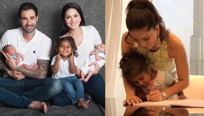 Sunny Leone Wears Her 'Supermom Cape' As She Helps Daughter With Her Homework On A Vacation