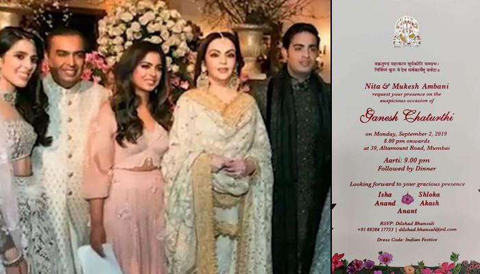 Mukesh-Nita Ambani Send Invites For Akash-Shloka And Isha-Anand's First Ganesh Chaturthi Celebration