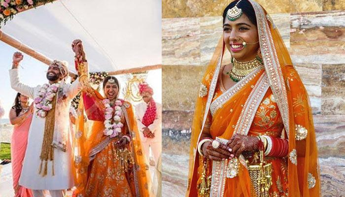 This Bride Wore A Dazzling Sabyasachi Orange Lehenga On Her Wedding With Contrasting Jewellery
