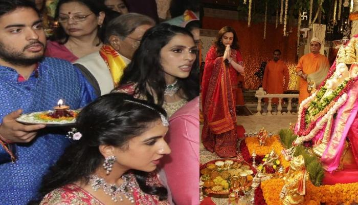 Exclusive Pictures Of Shloka Mehta And Akash Ambani Doing Ganesh Aarti Along With Ambani Family