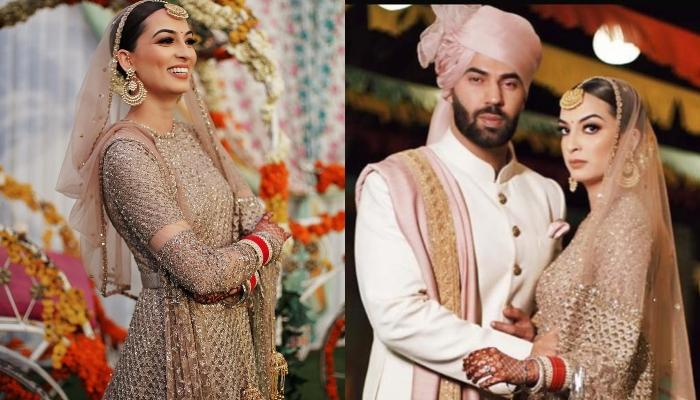 This Bride Ditched The 'Dulhan Ka Lehenga' And Opted For Rose Gold Anarkali For Her Wedding Day