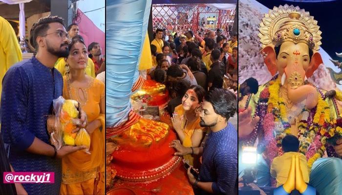 Hina Khan And Rocky Jaiswal's 'Divine' Visit At Lalbaugcha Raja Ganpati Pandal To Seek Blessings