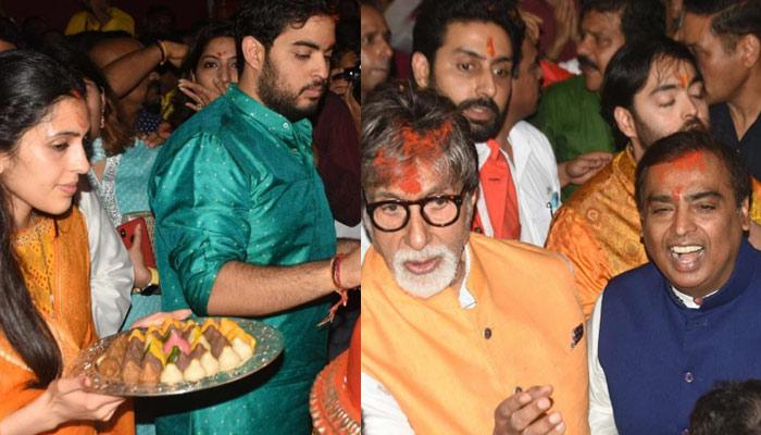 Shloka Mehta And Akash Ambani Visit Lalbaugcha Raja; Mukesh, Anant, Abhishek And Amitabh Also Join