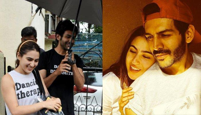 Kartik Aaryan Holds Umbrella For Sara Ali Khan To Save Her From Rain As They Come From Dance Session