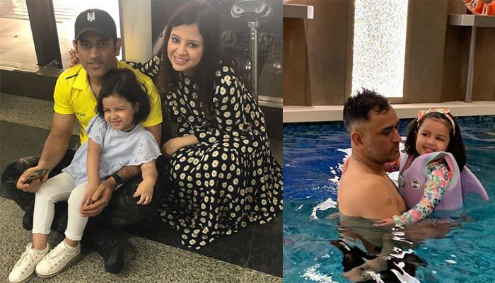 M.S. Dhoni Playing With His Darling, Ziva Dhoni In The Pool Is Giving Us Major Father-Daughter Goals
