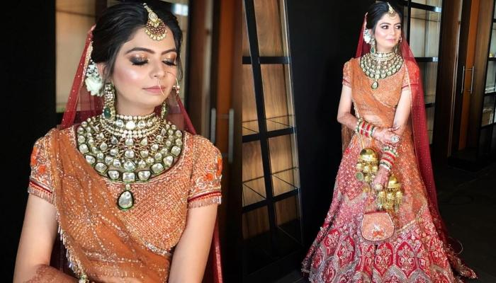 This Bride Wore A Gorgeous Orange-Red Lehenga With An Oversized Necklace For Her Wedding Day