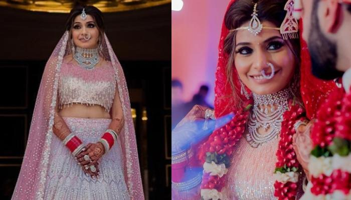 This Jaipur Bride Wore A Pretty Pink Manish Malhotra Lehenga With A Red Bandhani Dupatta
