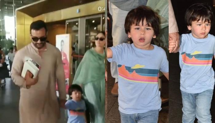 Taimur Ali Khan Walks In Style With Saif Ali Khan And Kareena Kapoor Khan As They Return To Mumbai