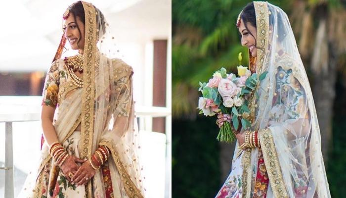 This Doctor Bride Wore A Gorgeous Floral Sabyasachi Lehenga For Her Spain Wedding