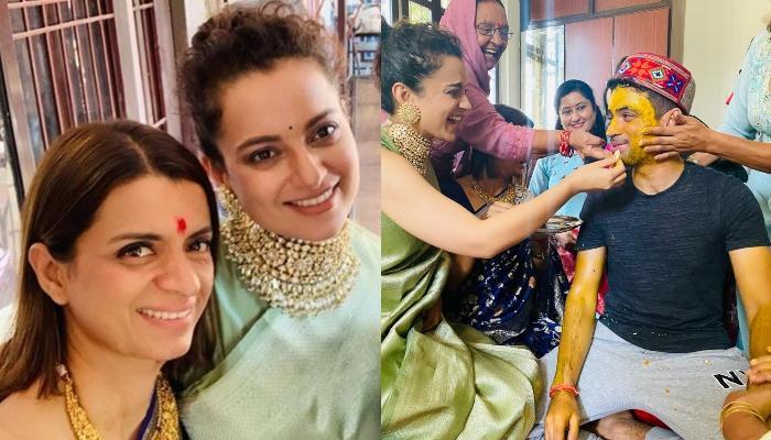 Rangoli Chandel 'Seizes' Sister, Kangana Ranaut's Saree For Their Brother, Aksht's 'Badhai' Ceremony