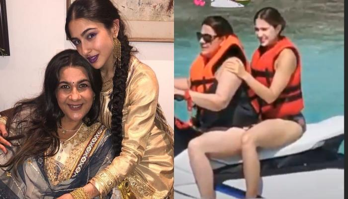 Sara Ali Khan And Amrita Singh Look Adorable As They Take Ride On A Water-Scooter