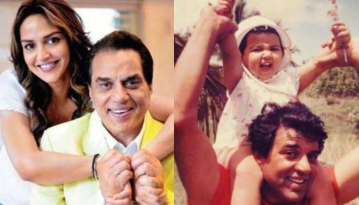 Esha Deol Looks Cute As A Button With Daddy, Dharmendra In This Unseen Childhood Throwback Picture