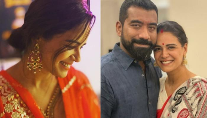 Mona Singh Looks Stunning, Breaks Her First Karwa Chauth Fast By Looking At Husband, Shayam's Face