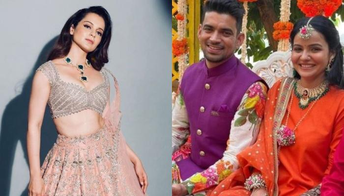 Kangana Ranaut Glows In A Custom Made Multicoloured Lehenga For Her Brother, Aksht's Wedding
