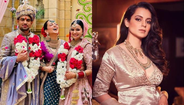 Kangana Ranaut Restyles Her Sabyasachi Jewellery From Her Brother's Wedding For Their 'Kuldevi Puja'