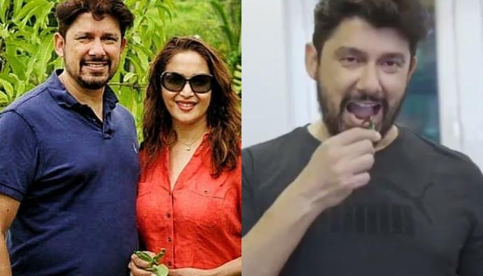 Madhuri Dixit's Hubby, Shriram Nene Helps Her In Cooking 'Kanda-Poha', Cutely Eats The Green Chilli