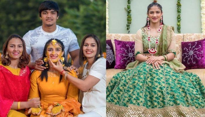 Geeta Phogat's Sister, Sangeeta Ditched Red For A Pink Floral Motif 'Lehenga' For Her Wedding [Pics]