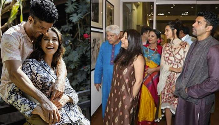 Farhan Akhtar's GF, Shibani Dandekar Bonds With Akhtar Family At Javed Akhtar's Birthday Exhibition