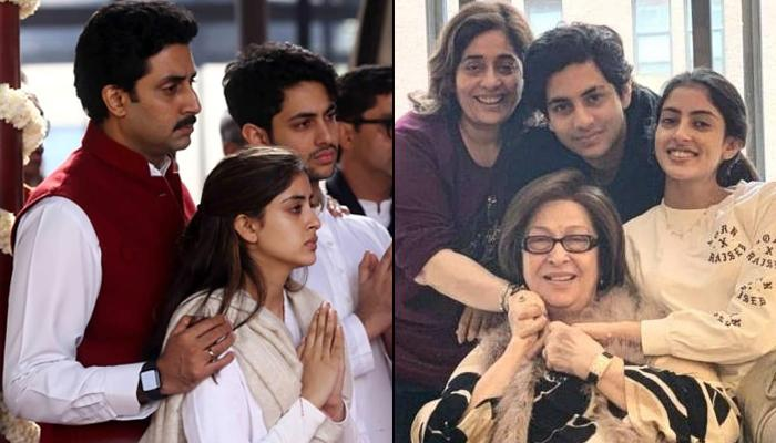 Abhishek Bachchan Stands By His Niece-Nephew, Navya And Agastya As They Immerse Ritu Nanda's Ashes