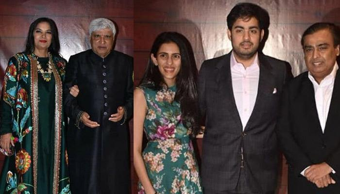 Mukesh Ambani, Akash Ambani And Shloka Mehta Look Picture Perfect At Javed Akhtar's Birthday Bash