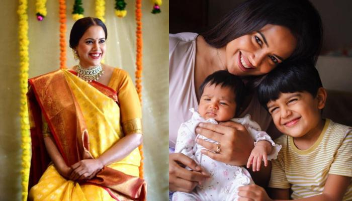 Sameera Reddy Shares Stunning Monochrome Picture With Her Kids, Hans And Nyra On Her Birthday