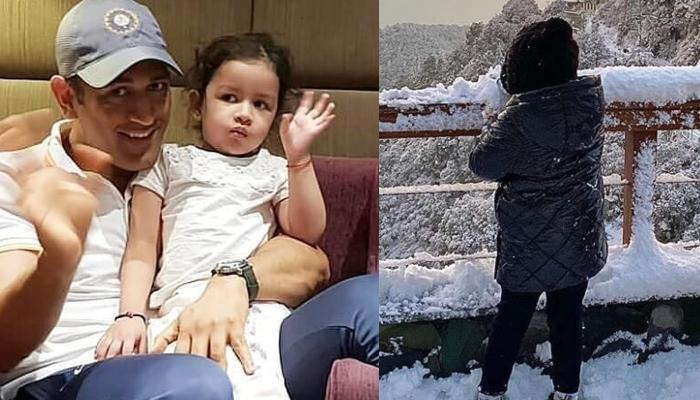 MS Dhoni's Daughter, Ziva Singh Dhoni Enjoys Her First Snowfall Experience, Makes Snowman