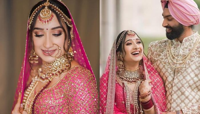 This Bride Wore A Pink-Coloured Sabyasachi Mukherjee Lehenga With A Unique Maroon Chooda
