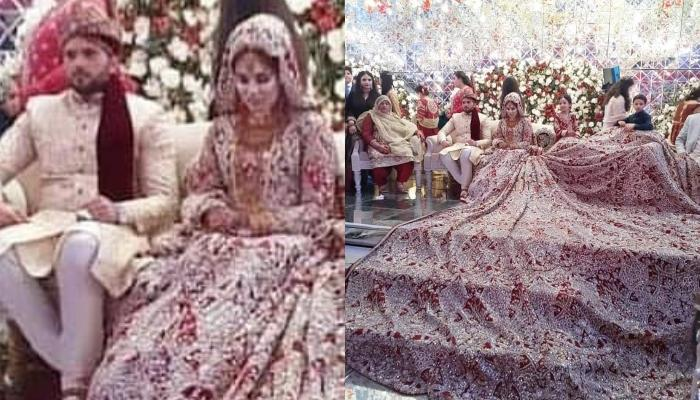 This Pakistani Bride Wore A 100 Kg Lehenga For Her Wedding Day Leaving Everyone Amazed Of Her Style