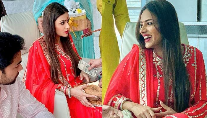 Smriti Khanna Radiates Pregnancy Glow In Her 'Godh Bharai' Pictures, Looks Gorgeous In A Red Suit