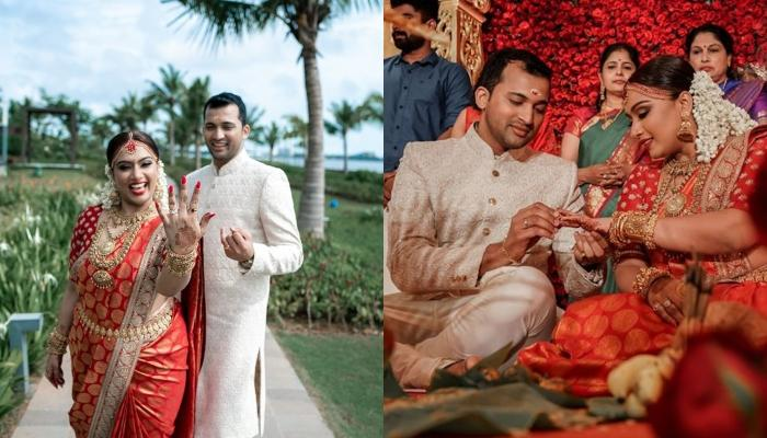 This South Indian Bride Dons Sabyasachi Kanjivaram On Her Wedding, Temple Jewellery Steals The Show