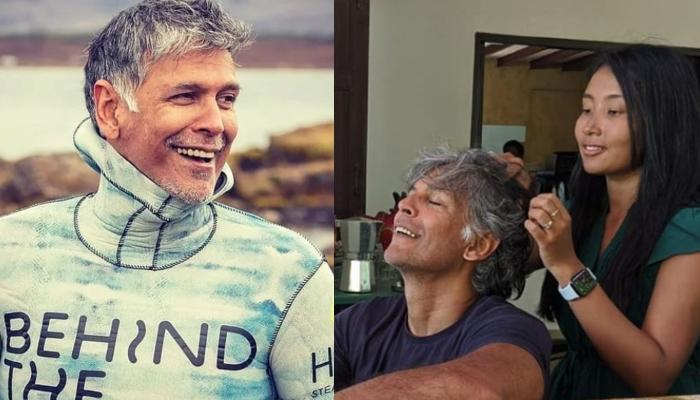 Milind Soman Shows How To Stay Fit, Does Push-Ups By Carrying Wife, Ankita Konwar On His Back