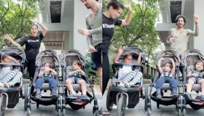 Sunny Leone And Daniel Weber Dance For Nisha, Asher And Noah Kaur Weber As Little Ones Clap For Them