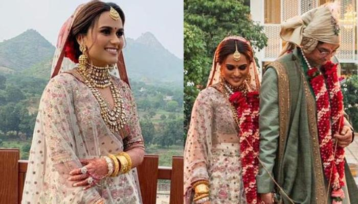 This Bride Wore A Unique Floral White Lehenga From Sabyasachi Mukherjee's Collection For Her D-Day