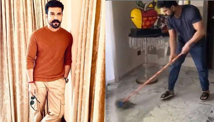 South Star, Ram Charan Takes The 'Real Man' Challenge, Mops The Floor And Nominates Ranveer Singh