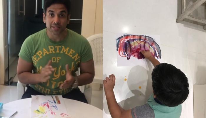 Tusshar Kapoor Teaches Ice-Cube Painting To Son, Laksshya Kapoor, Video Inside