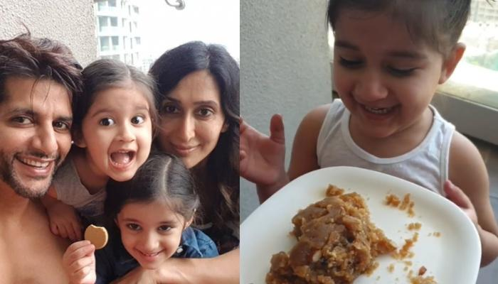 Karanvir Bohra Made 'Halwa Cake' For Teejay On 13th Anniversary, His Twins Gave An Epic Reaction