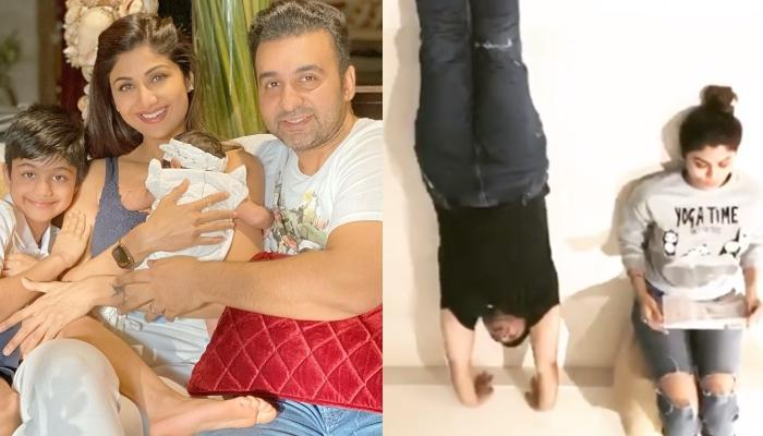 Shilpa Shetty Kundra's Husband, Raj Kundra Does A Handstand But Their Pooch Exposes Him