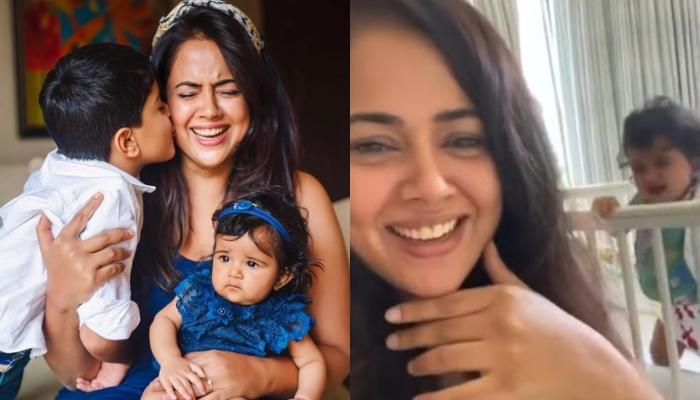 Sameera Reddy Got Photo-Bombed By Her Toddlers, Hans And Nyra While Making A Hair-Care Video