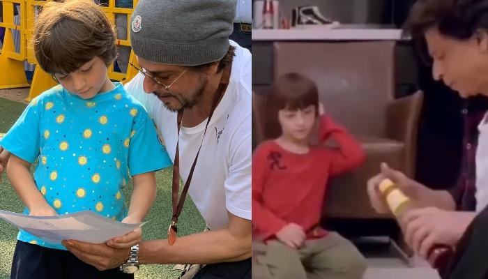 Shah Rukh Khan Bonds With AbRam Khan As He Prepares A Smiley Face Pizza For Him, Video Inside